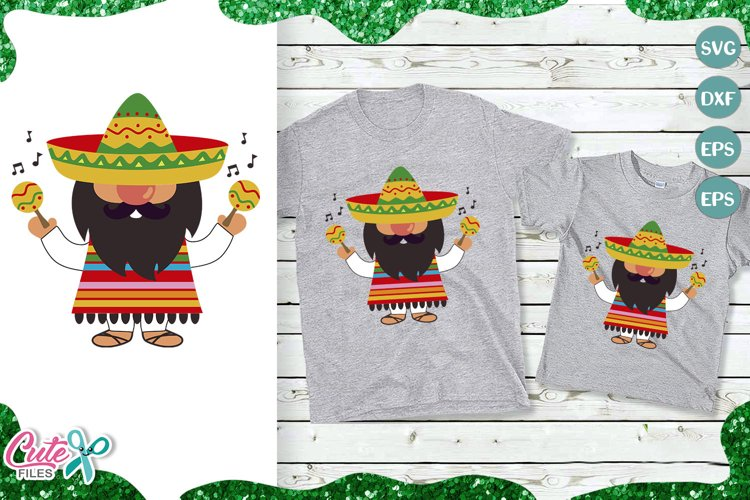 Mexican gnome and maracas SVG for crafter