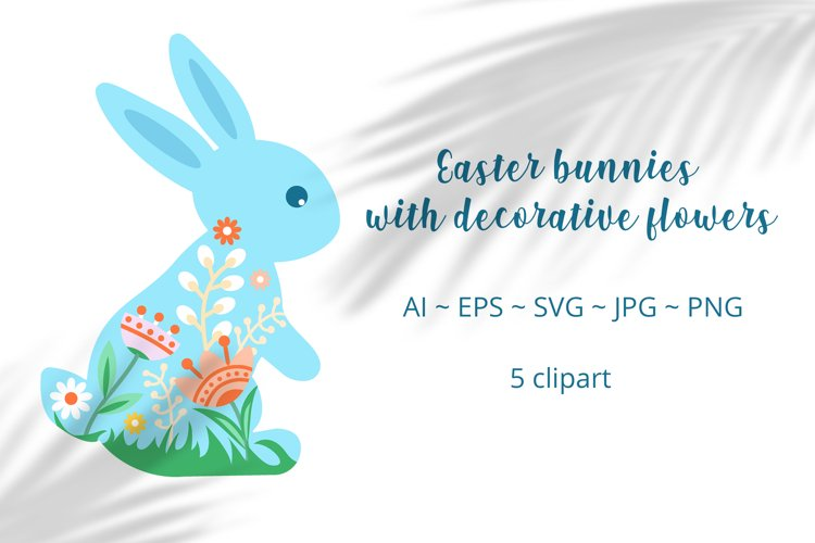 Easter rabbits with decorative flowers. Vector clipart