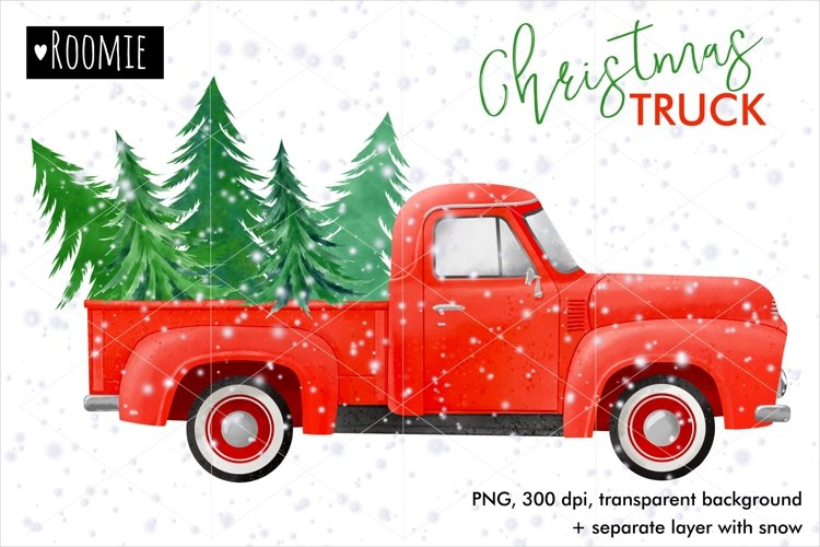 Watercolor Christmas Red TRUCK with pine trees PNG, New Year