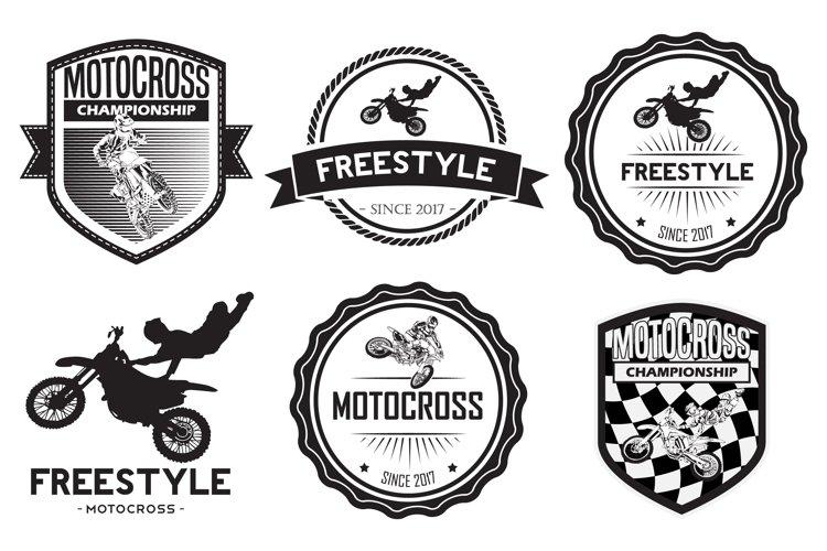 set of motocross badge logo vector example image 1