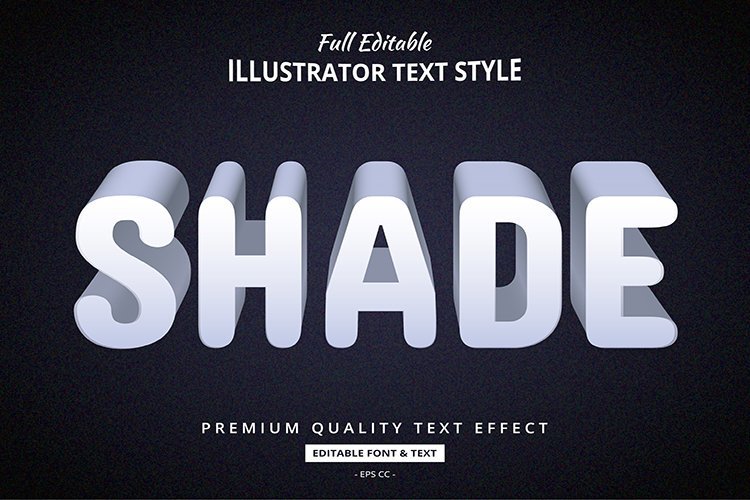 Shade Long Shadow 3D Illustrator Text Style Effect example image 1