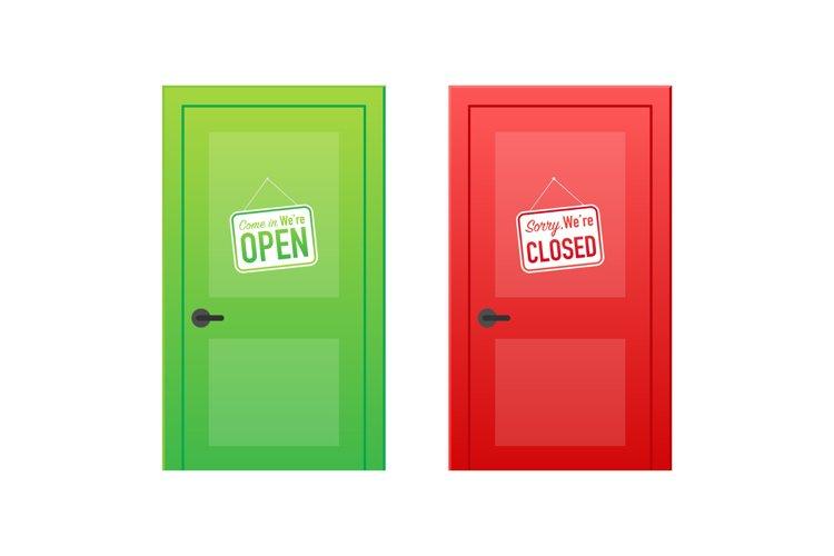 Open end closed door. Interior design. Business concept. example image 1