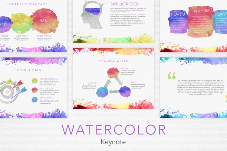 Watercolor Keynote Template example image 1
