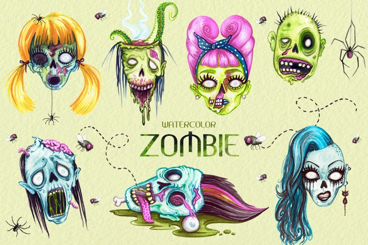 Watercolor Zombie Heads example image 1