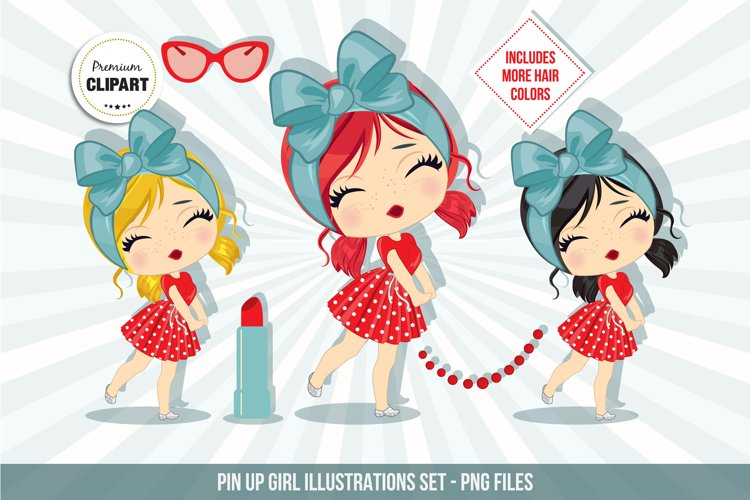 Pin up girl clipart, Retro illustrations example image 1