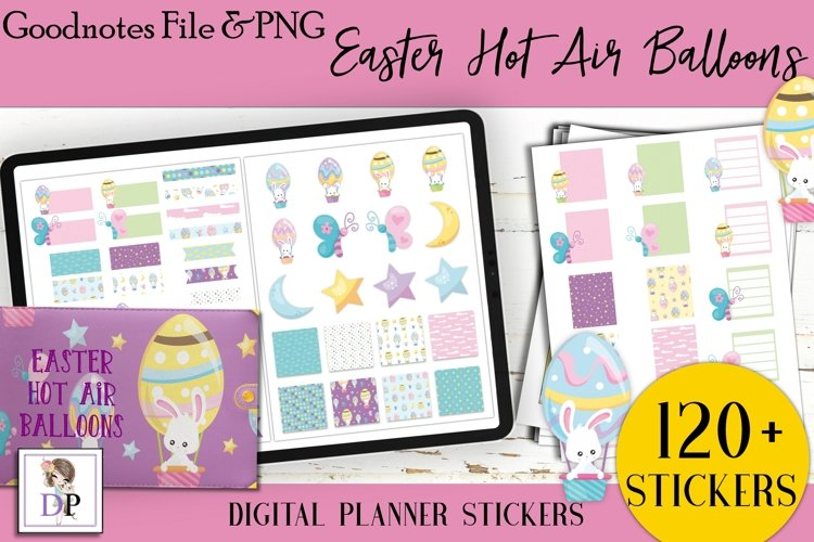 Easter Hot Air Balloon Digital Printable Stickers Goodnotes example image 1