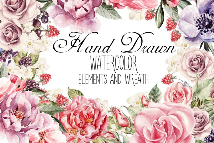 watercolor ELEMENTS and WREATH example image 1