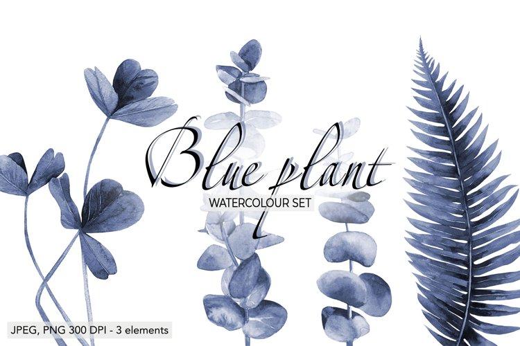 Blue floral Fern Blue leaves Plant print watercolour plants example image 1