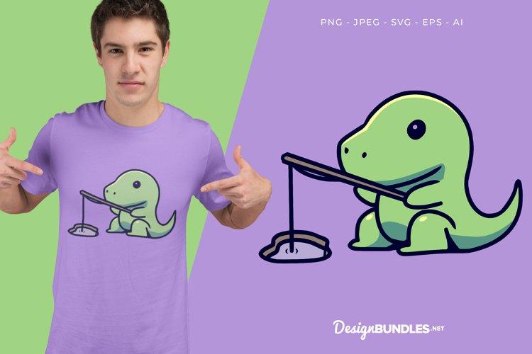 Fishing Dino Vector Illustration For T-Shirt Design