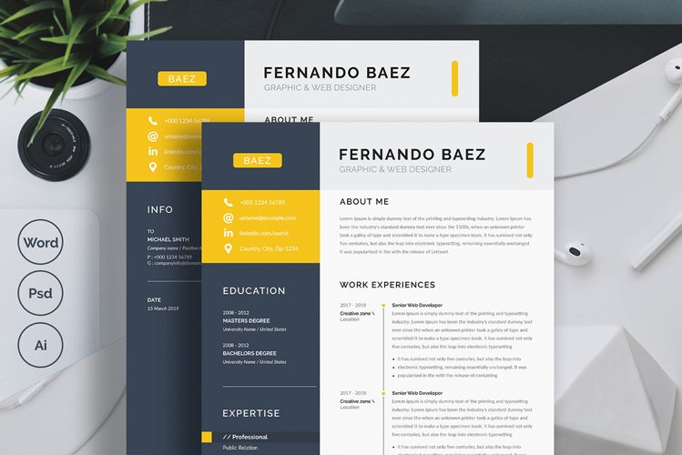 One Page Resume / CV Template with MS Word example image 1