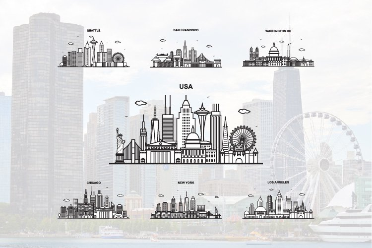 7 City in USA Cityscape Skyline Set example image 1