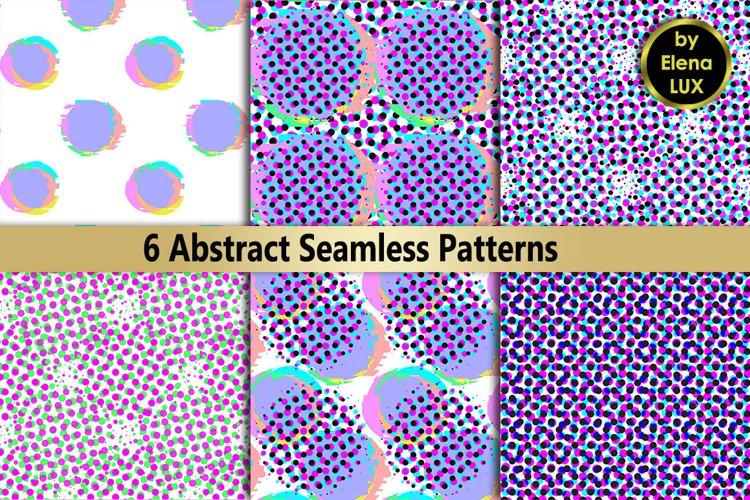 Glitch and halftone seamless patterns set