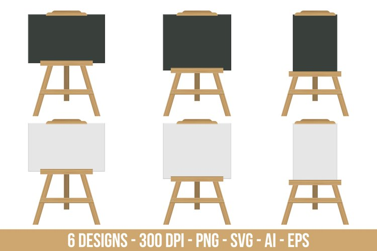 Blackboard and whiteboard easel clipart set. example image 1