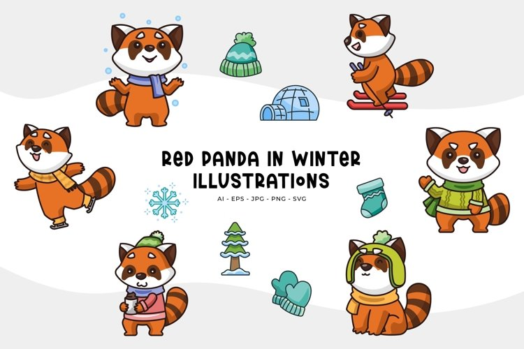 Red Panda in Winter Illustrations