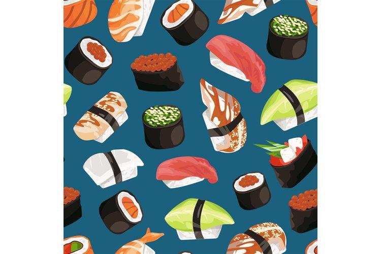 Vector cartoon sushi types pattern example image 1