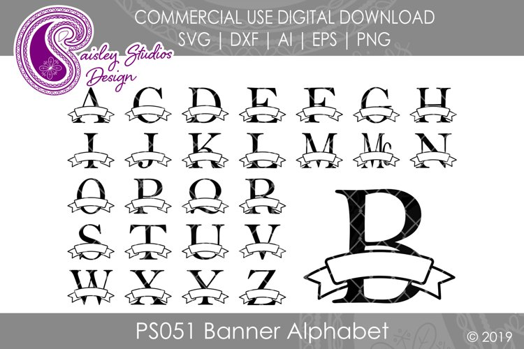 Banner Alphabet SVG DXF Ai EPS PNG example image 1