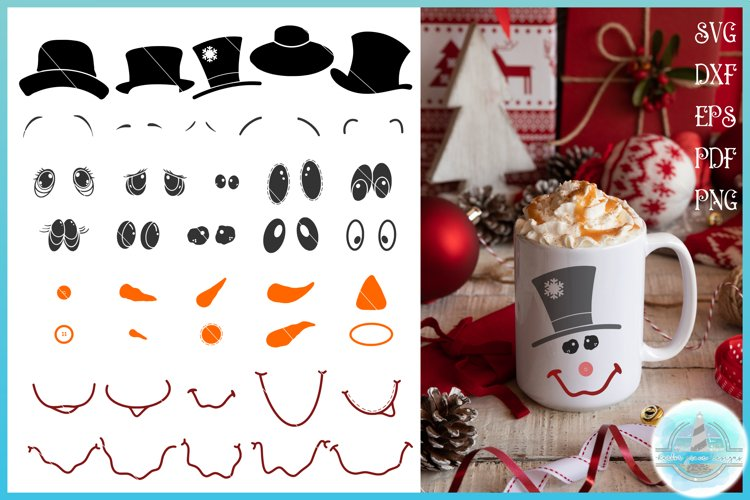 Christmas SVG | Build Your Own Snowman Face Bundle Kit example image 1