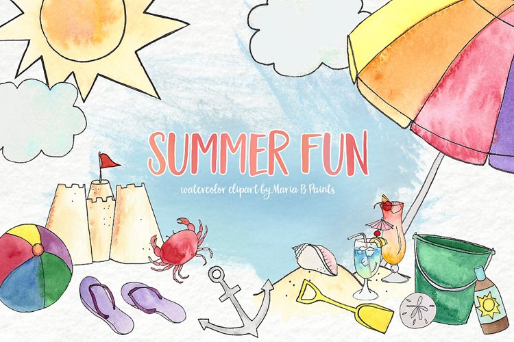 Watercolor Clip Art - Summer Beach example image 1