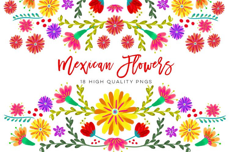 Mexican Watercolor Floral clipart, flowers fiesta clip art