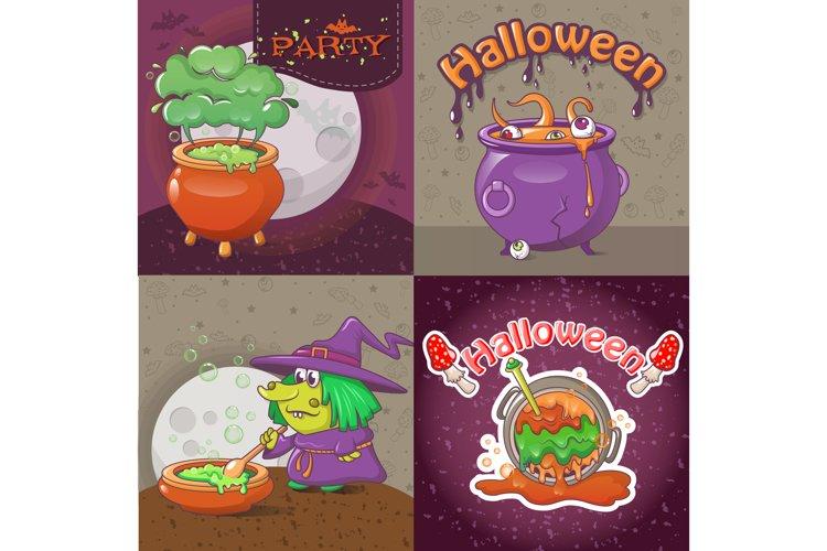 Cauldron pot banner concept set, cartoon style example image 1