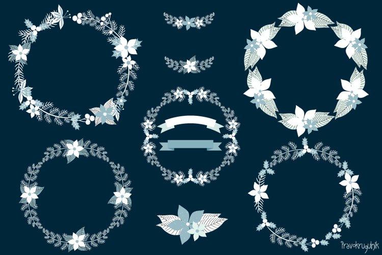 White Blue Rustic Floral Christmas Wreath Clipart Set
