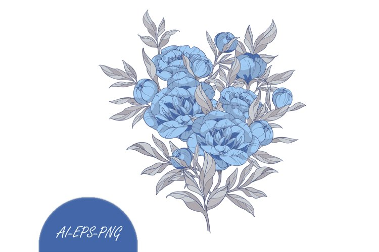 Vector Clipart with Bouquet blue peonies flowers example image 1