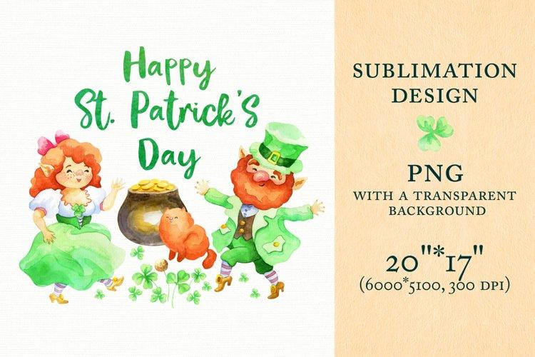 Happy Patricks Day. Sublimation design with Leprechauns