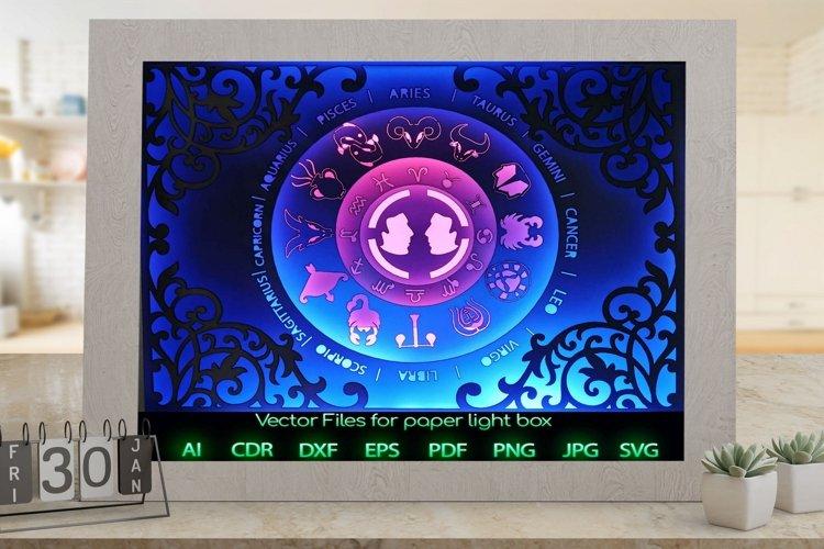 Zodiac sign gemini Light box template , Paper or cardboard example image 1