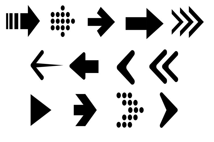 Set arrow icon. Collection different arrows sign example image 1