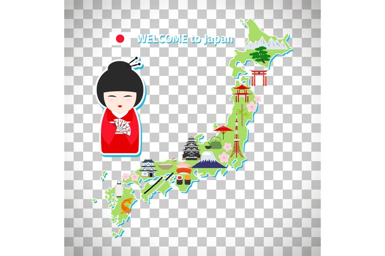 Japan travel map on transparent background example image 1
