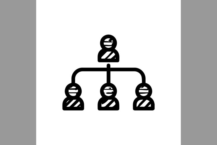 hand drawn leadership connection, community symbol line icon example image 1