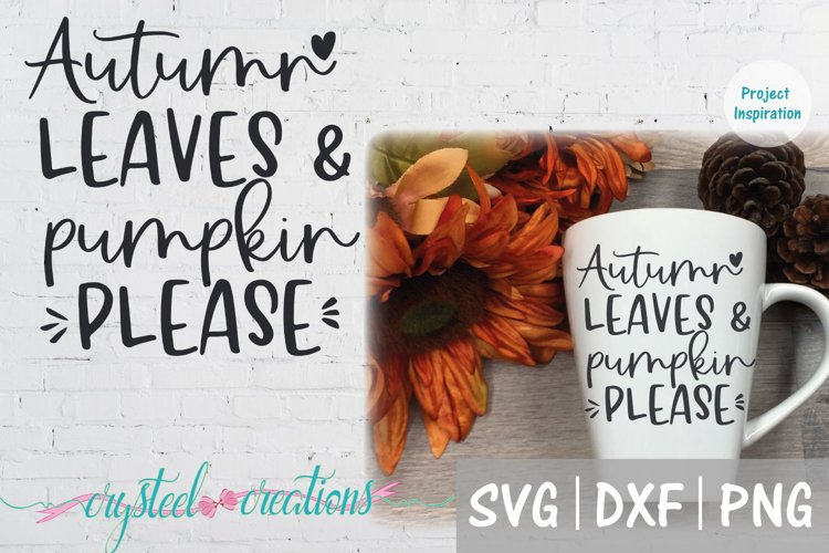 Autumn Leaves and Pumpkin Please SVG, DXF, PNG example image 1