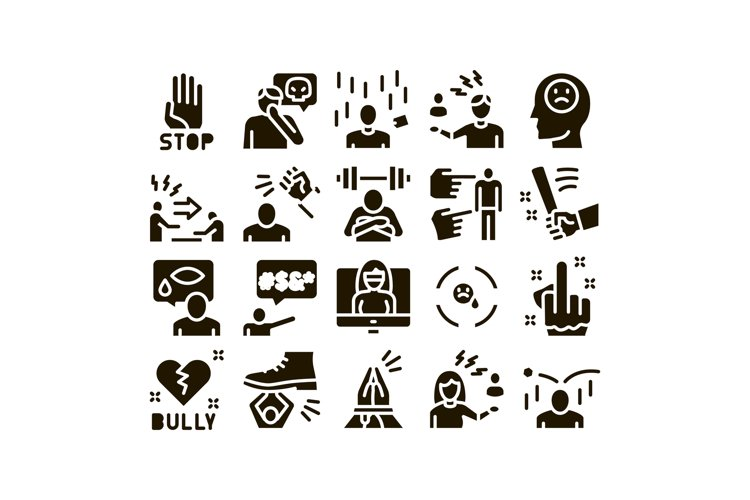 Bullying Aggression Glyph Set Vector example image 1