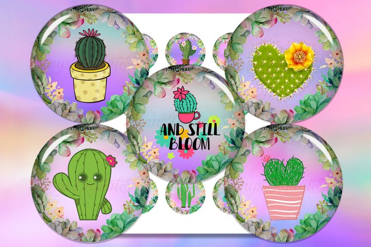 Cactus Digital Collage Sheet, Cactus Printable, Cabochon example image 1