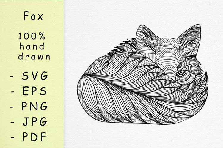 Hand drawn Fox with patterns
