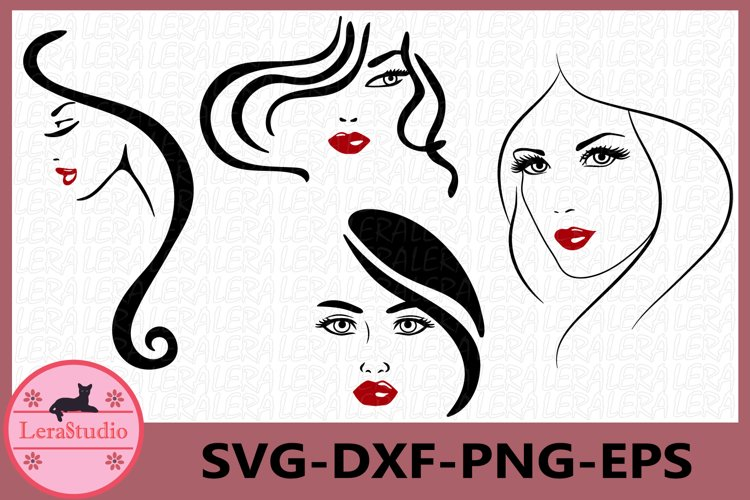 Women Face Svg, Woman Silhouette, Clipart, Sexy Girl Svg example image 1