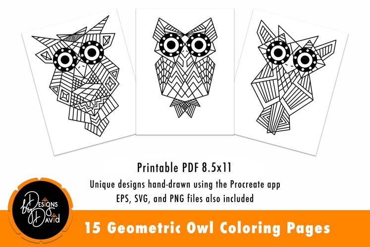 Geometric Owl Coloring Pages Printable PDF example image 1