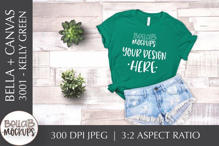 Bella Canvas 3001 Woman's T Shirt Mockup, Kelly Green example image 1