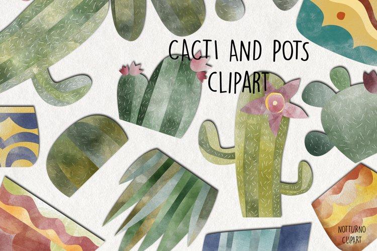 Watercolor Cacti Pots clipart. Plants digital images. example image 1