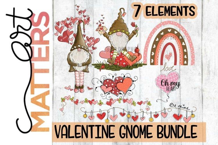 Gnome Valentine Watercolor Bundle - 7 Elements - 300 DPI example image 1