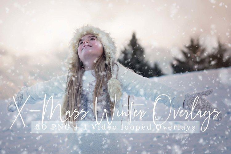 31 X-mass Winter Overlays Video looped Snow overlays
