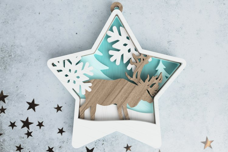 Christmas ornament laser cut file - deer in the woods example image 1