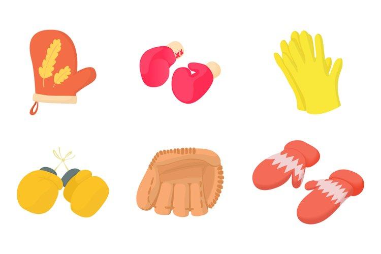 Gloves icon set, cartoon style example image 1