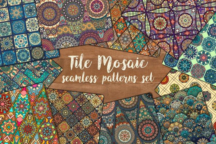 Tile mosaic seamless patterns set example image 1