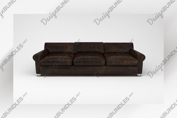 Chocolate brown sofa front view furniture 3d rendering example image 1