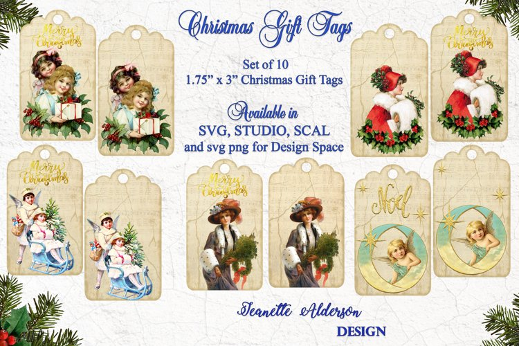Vintage look Christmas Gift Tags - cutting file SVG PNG example image 1