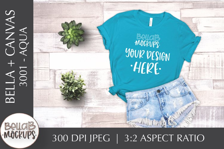 Bella Canvas 3001 Woman's T Shirt Mockup, Aqua, Flat lay example image 1
