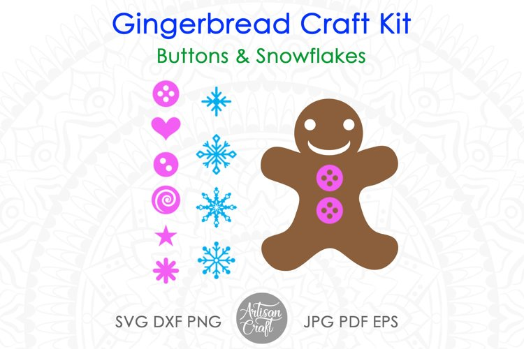Gingerbread man SVG kit, Christmas paper crafts, clip art example 1