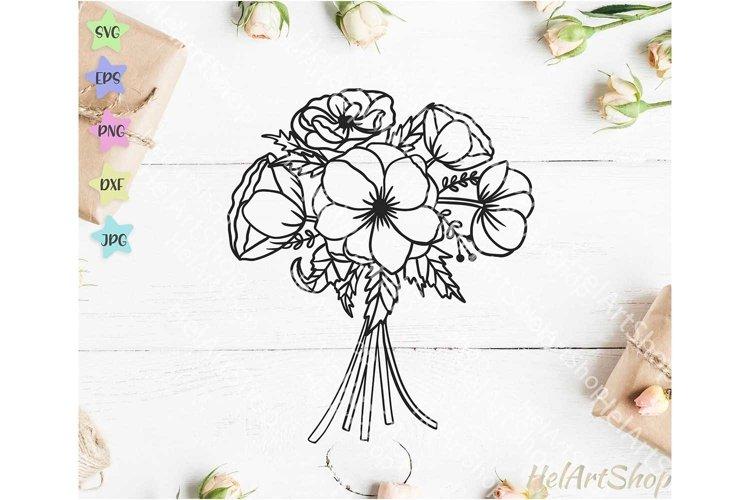 Anemones bouquet svg, flower arrangement svg, Floral bunch example image 1