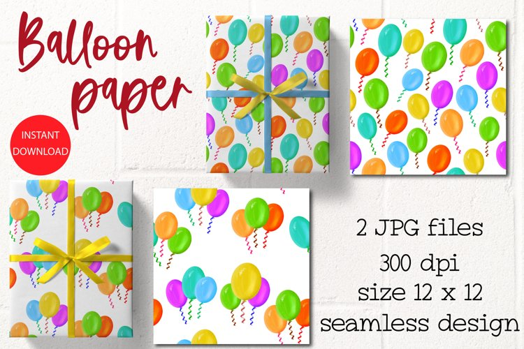 Party Balloons, Seamless Patterns JPG example image 1